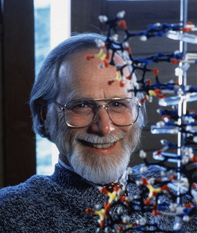 J. Michael Bishop with a model of DNA Photograph courtesy of UCSF Archives and Special Collections.
